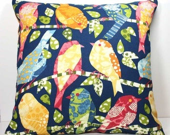 18 Inch Decorative Throw Pillow Cover - Multi Colored Patchwork Birds on Navy Blue - Invisible Zipper Closure