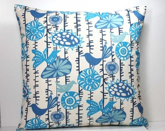 18 x 18 Inch Decorative Throw Pillow Cover -  Arctic Blue, Capri Blue, Navy and Light Blue Birds and Flowers on Natural - Invisible Zipper