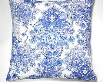 16 Inch OR 18 Inch Decorative Throw Pillow Cover - Blue Damask on White - Invisible Zipper Closure - Fabric Both Sides