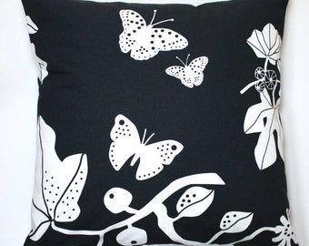 Decorative Throw Pillow Cover 18 x 18 Inch - White Butterflies and Leaves on Black - Invisible Zipper Closure - Fabric on Both Sides