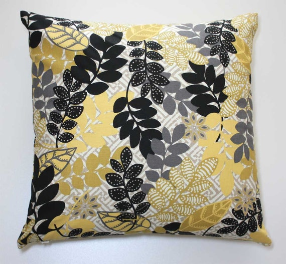16 x 16 Inch OR 18 x 18 Inch Decorative Throw Pillow Cover - Black, Gold, Gray, and Yellow Leaves - Invisible Zipper Closure