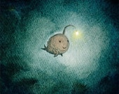 a light in the dark - cute angler fish, icon of hope in a deep dark and troubled ocean - TummyMountain