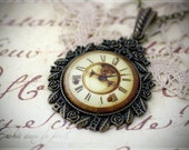 Time traveller - unique steampunk clock pendant