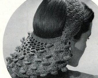 Crochet Pattern for 1940's Vintage Petal Snood PDF Instructions Immediate Download