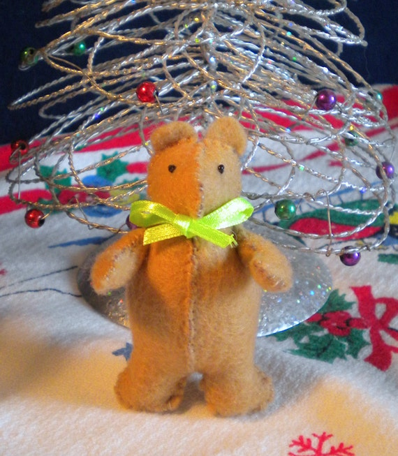 Jointed Teddy Bear Ornament Miniature Decoration or Package Tie
