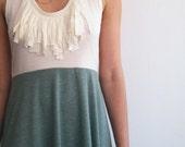 Sale - Fringe dress -  Ivory and green- LAST ONE