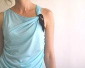 Aqua mint draped top with black ribbon