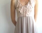 Fringe dress - sleeveless beige and powder pink jersey