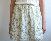 Silk skirt with Japanese birds print in green and ivory