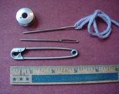 Lot of vintage metal sewing items - bobbin, large needles, giant safety pin
