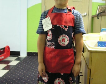 Boston Red Socks small child's apron ages 2-8 embroidered name available for extra fee