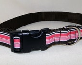Pink and Brown Stripes - Dog Collar
