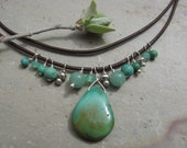 Sea Green Turquoise, Chrysoprase & Silver on Italian Leather Necklace