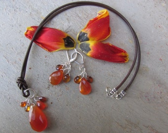 Thumbelina Set - Orange Carnelian on Leather Necklace & Earrings