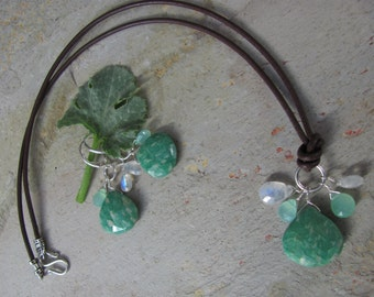 Seedling Green Set- Amazonite, Chrysoprase and Rainbow Moonstone on Leather Necklace & Earring Set