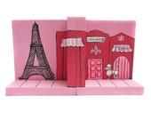 Ooh La La Pink Poodle Paris Street Scene w/ Eiffel Tower Custom Hand Painted Pair of Bookends Choose Any Design