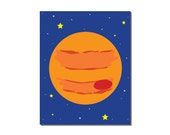 S A L E - Planet Jupiter - 8x10 Children's Art Print - Outer Space Theme