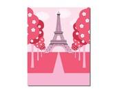 The Eiffel Tower - 8x10 Children's Art Print - Pink Poodle Paris Street Scene Theme - Ooh La La