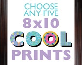 Choose ANY (5) FIVE 8x10 Children's Art Prints from COOLISART- Multiple Print Discount