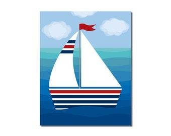 S A L E - Sailboat 2 - 5x7 Children's Art Print - Nautical Ocean Beach Theme
