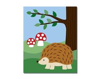 Hedgehog - 8x10 Children's Art Print - Woodland Critter Forest Animal Theme