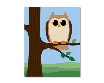 Owl - 8x10 Children's Art Print - Woodland Critter Forest Animal Theme
