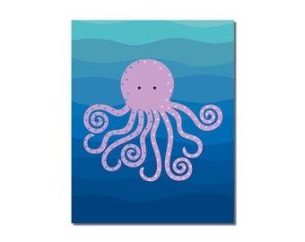 S A L E - Octopus - 5x7 Children's Art Print - Underwater Ocean Critter Beach Theme