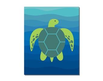 S A L E - Sea turtle - 5x7 Children's Art Print - Underwater Ocean Critter Beach Theme