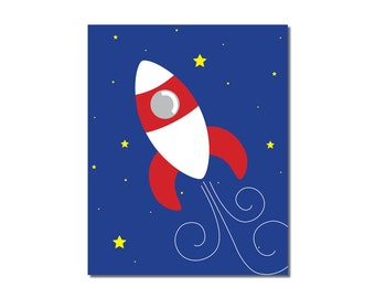 S A L E - Rocket Ship - 5x7 Children's Art Print - Outer Space Theme
