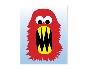 S A L E - Raging Red Monster - 5x7 Children's Art Print - Cute Monster Series