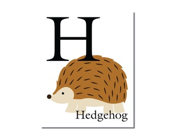 H is for Hedgehog... The Letter H - ABC Alphabet Art Print in 8 x 10