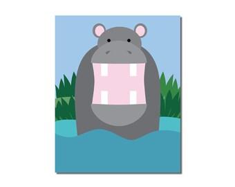 Hippo - 8x10 Children's Art Print - Jungle Safari Series