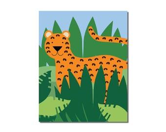 Leopard or Jaguar - 8x10 Children's Art Print - Jungle Safari Series