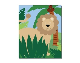Lion - 8x10 Children's Art Print - Jungle Safari Series
