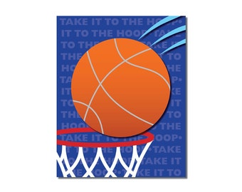 S A L E - Basketball and Hoop - 5x7 Children's Art Print - Sports Theme