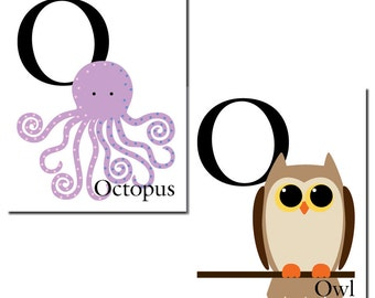 O is for Octopus OR Owl... The Letter O - ABC Alphabet Art Print in 8 x 10