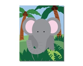 Elephant - 8x10 Children's Art Print - Jungle Safari Series