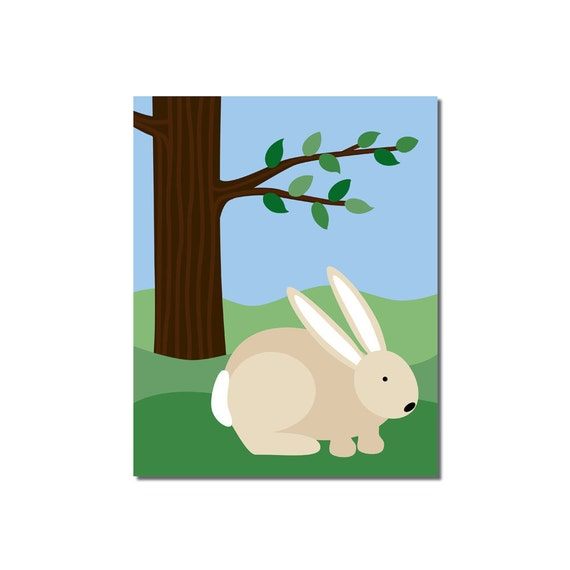 S A L E - Bunny rabbit - 8x10 Children's Art Print - Woodland Critter Forest Animal Theme