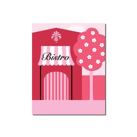 Bistro - 8x10 Children's Art Print - Pink Poodle Paris Street Scene Theme - Ooh La La