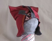 6-12 month red hat with gray lightning bolt