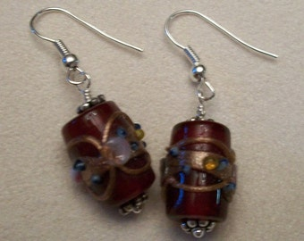 Red glass bead earrings - set 2
