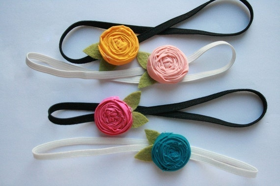 petite little rosette baby headband-brights-you choose the color