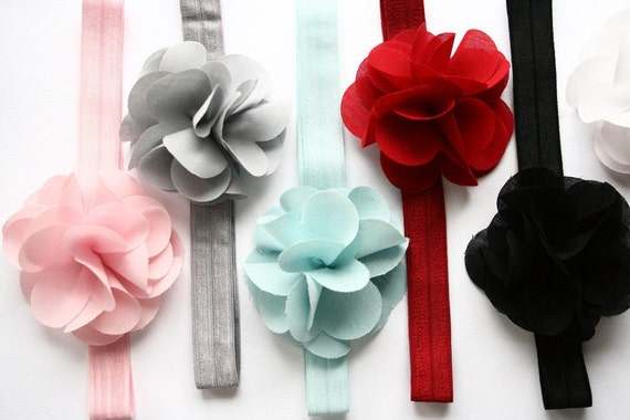 fluffy flower headbands with matching bands-CHOOSE YOUR COLOR