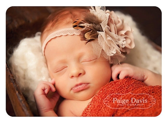 feather and lace vintage style headband