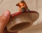 Ceramic Miniature Fox Lidded Jar fox patiently waiting for the rabbit on the mushroom