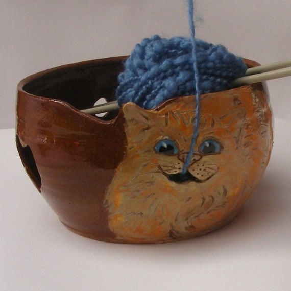 Knitting Bowl Funny : Cat yarn bowl ceramic with playful and brighter