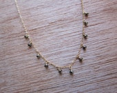 necklace- pyrite dangles on 14kt gold filled chain