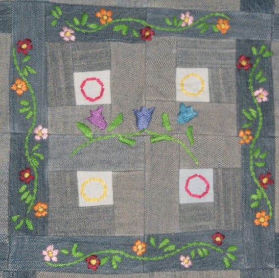Denim Log Cabin Wallhanging Embroidered Flowers Orange