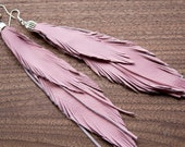 Leather Feather Earrings. Pink Leather. Bohemian jewelry. Free shipping worldwide