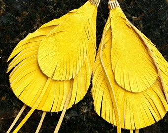 Leather Feather Earrings Sunny yellow unique bohemian style